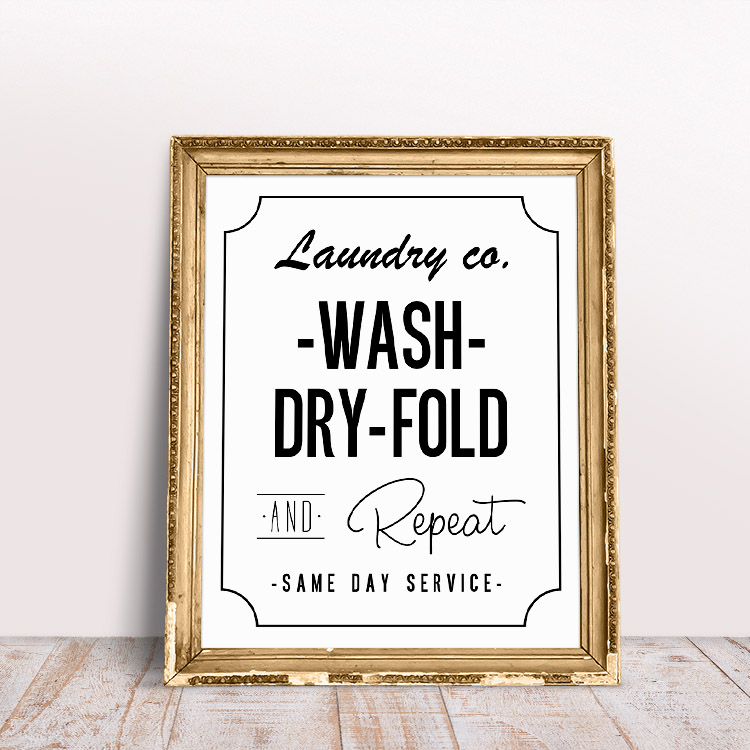 White background with black text - free printable laundry room wall art
