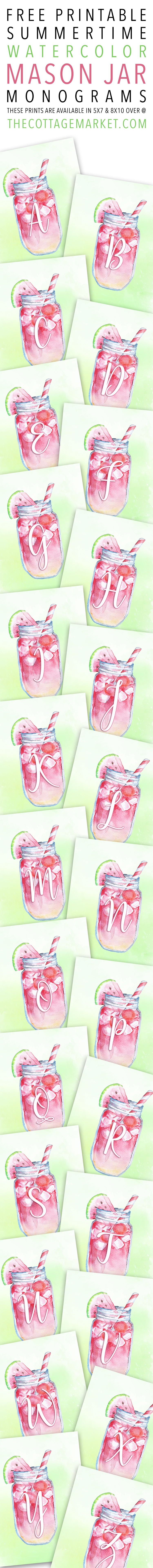 Free Printable Summertime Watercolor Mason Jar Monograms The Cottage Market