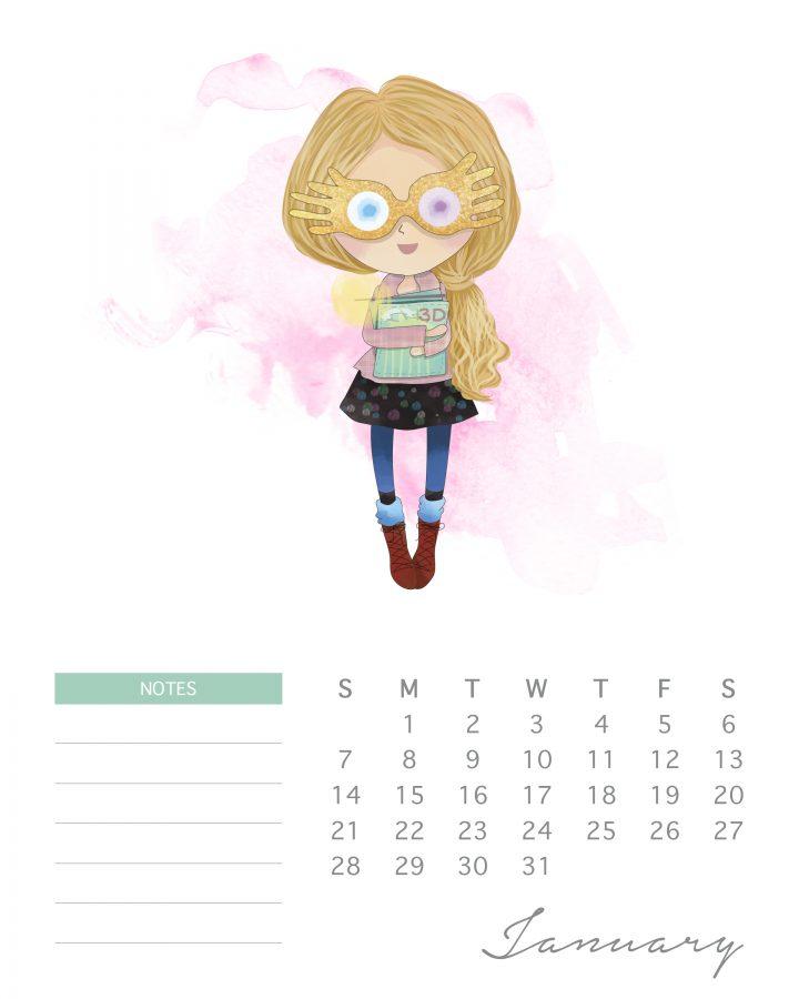 free printable 2018 watercolor harry potter calendar