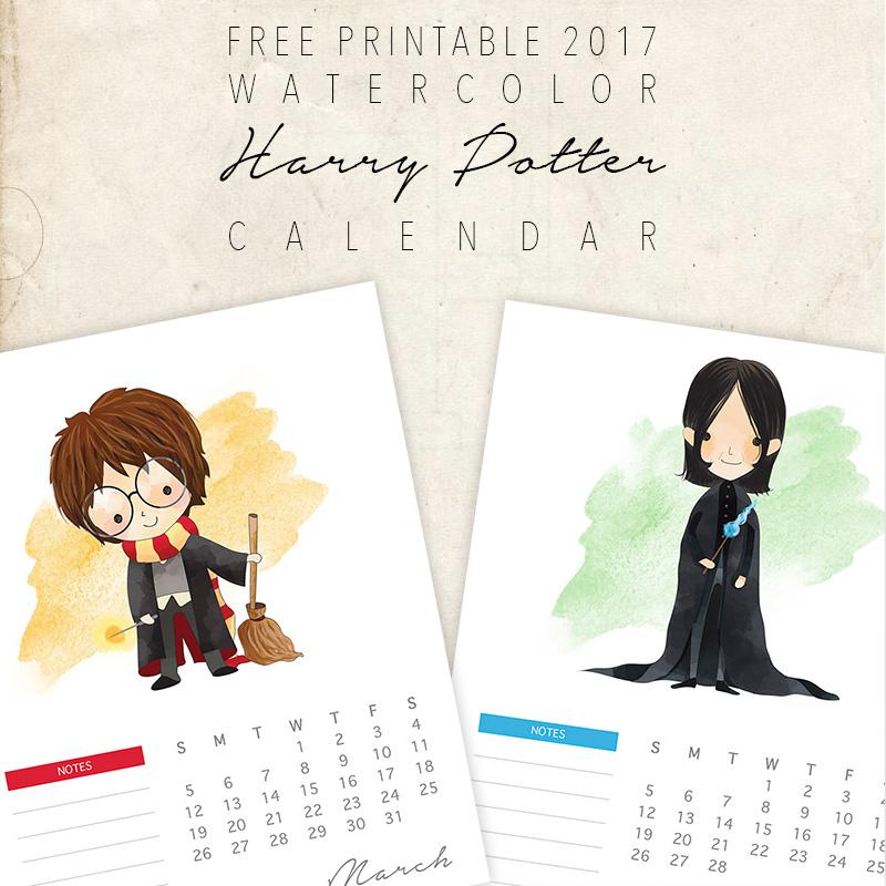 Free Printable Watercolor Harry Potter Character Calendar
