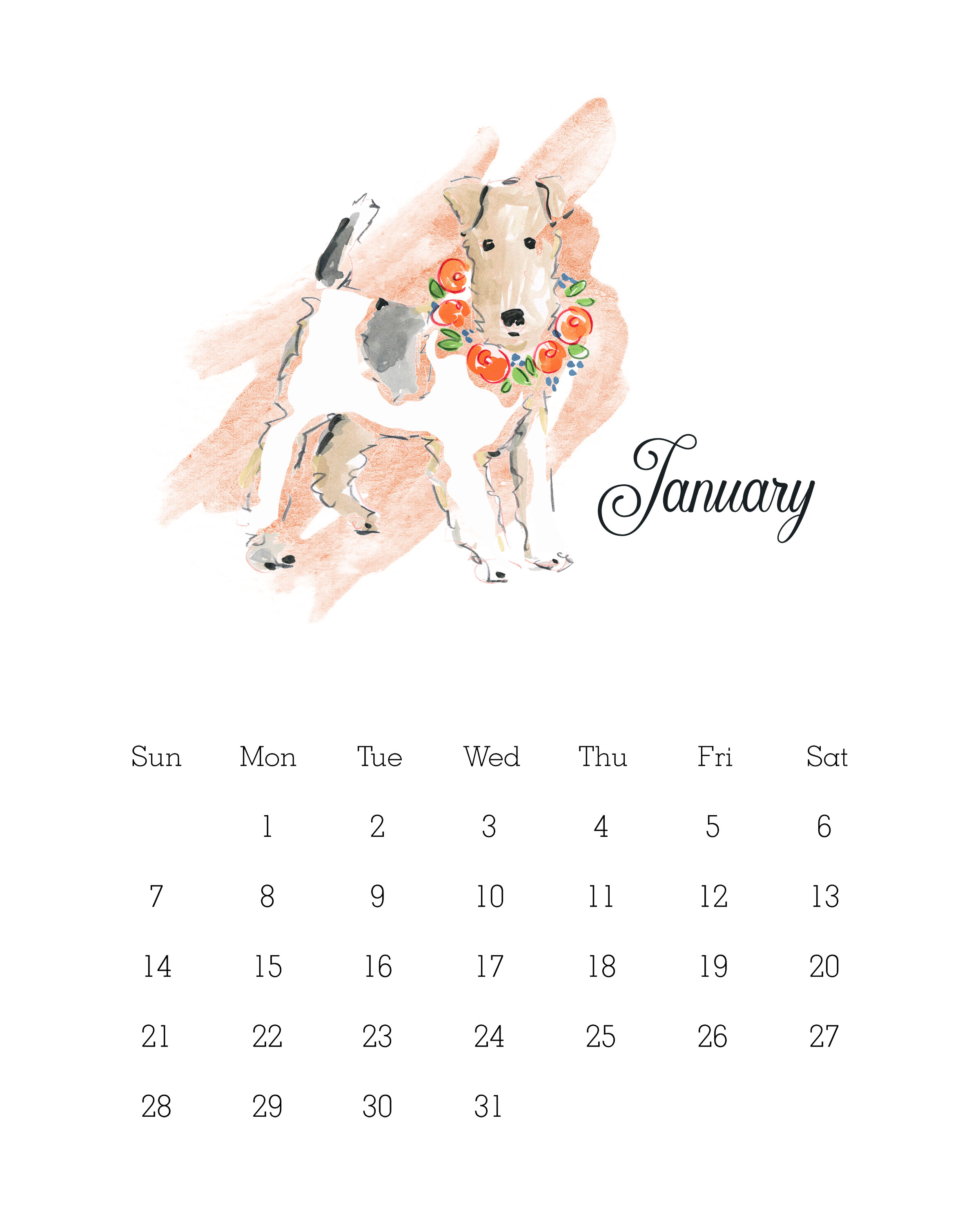 January 2018 - Watercolor Dog Calendar