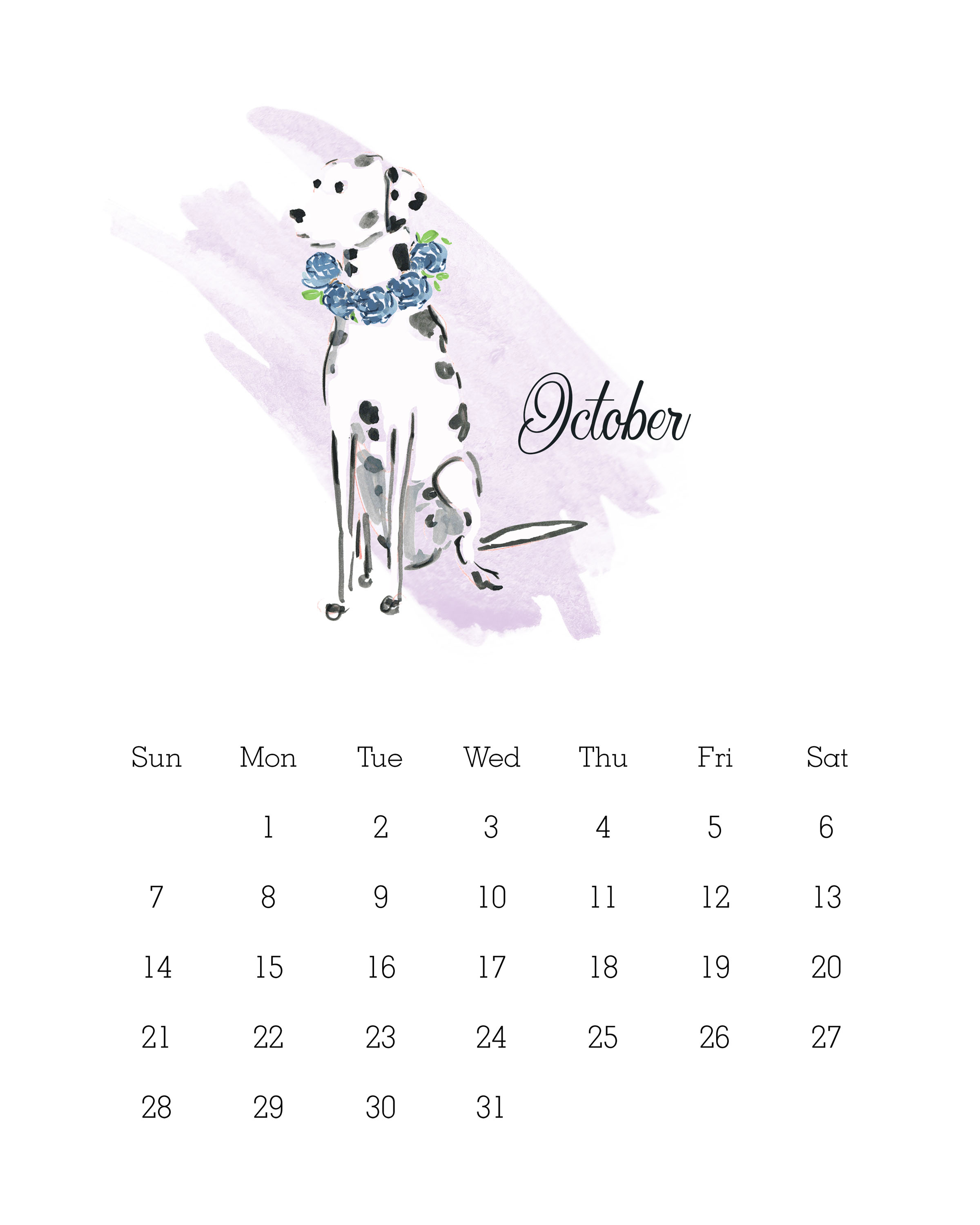 October 2018 - Watercolor Dog Calendar