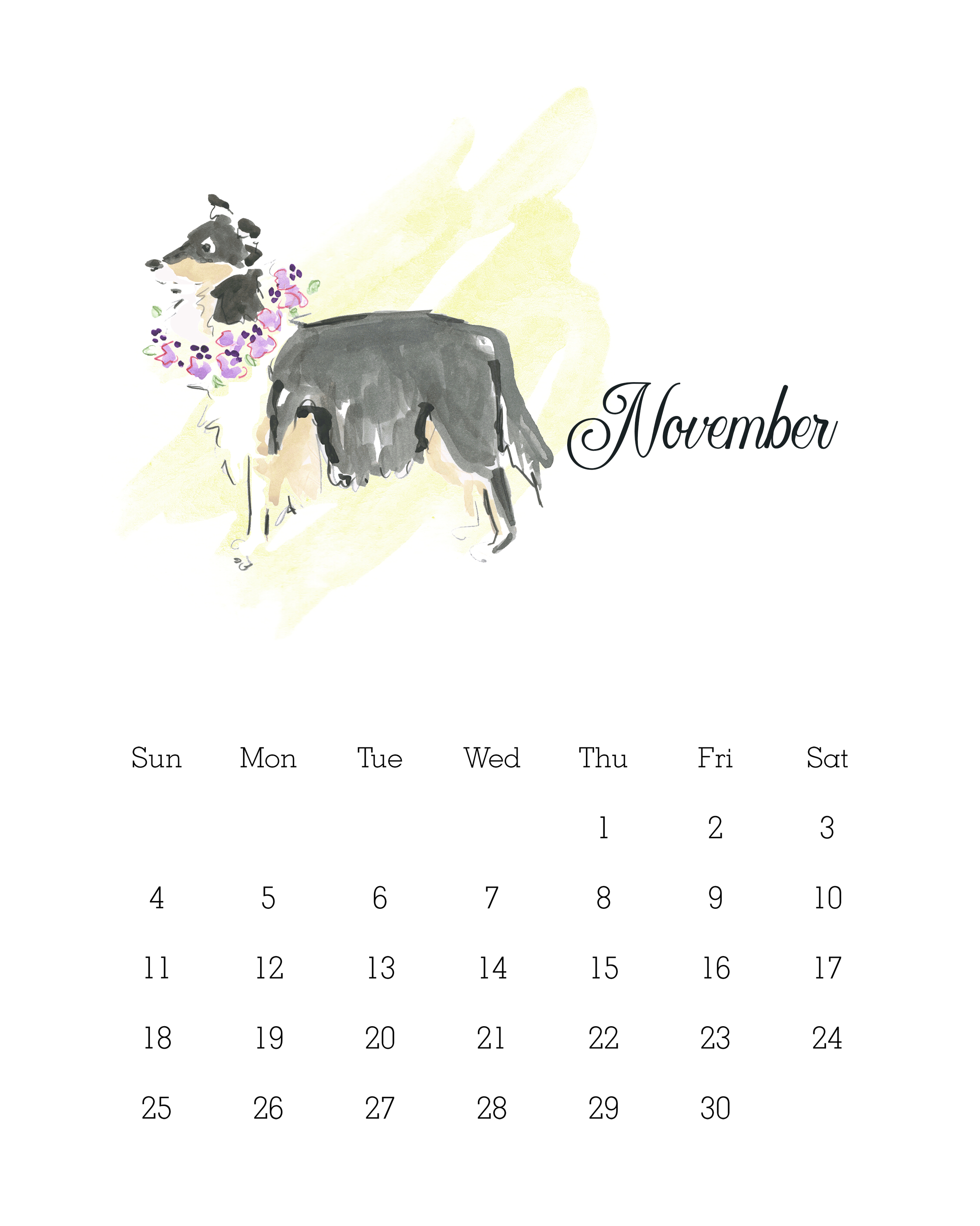 November 2018 - Watercolor Dog Calendar