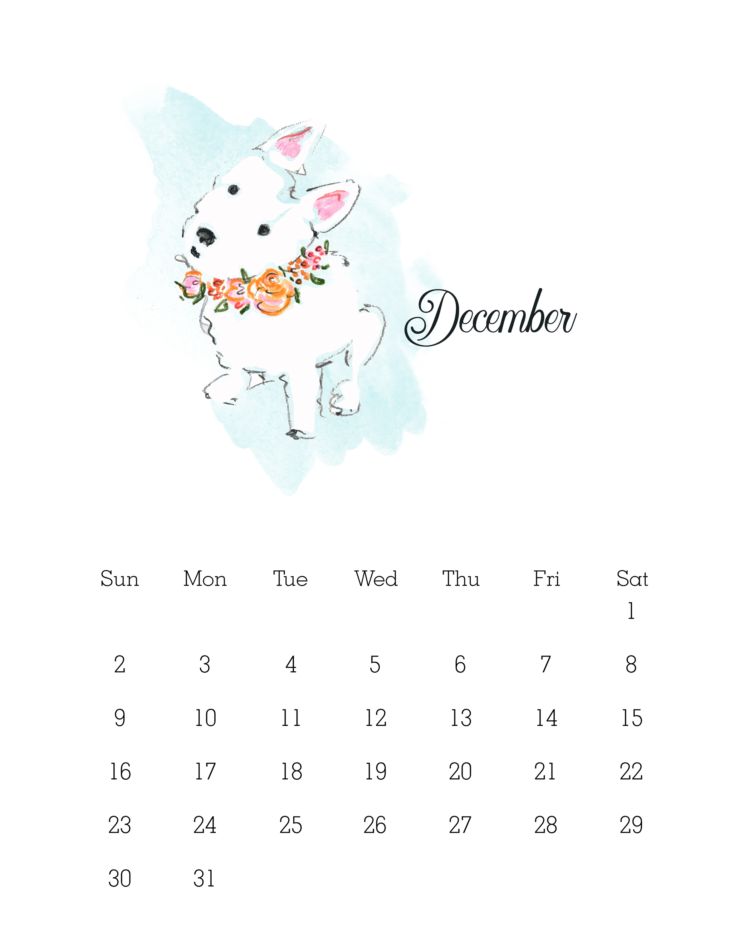 December 2018 - Watercolor Dog Calendar
