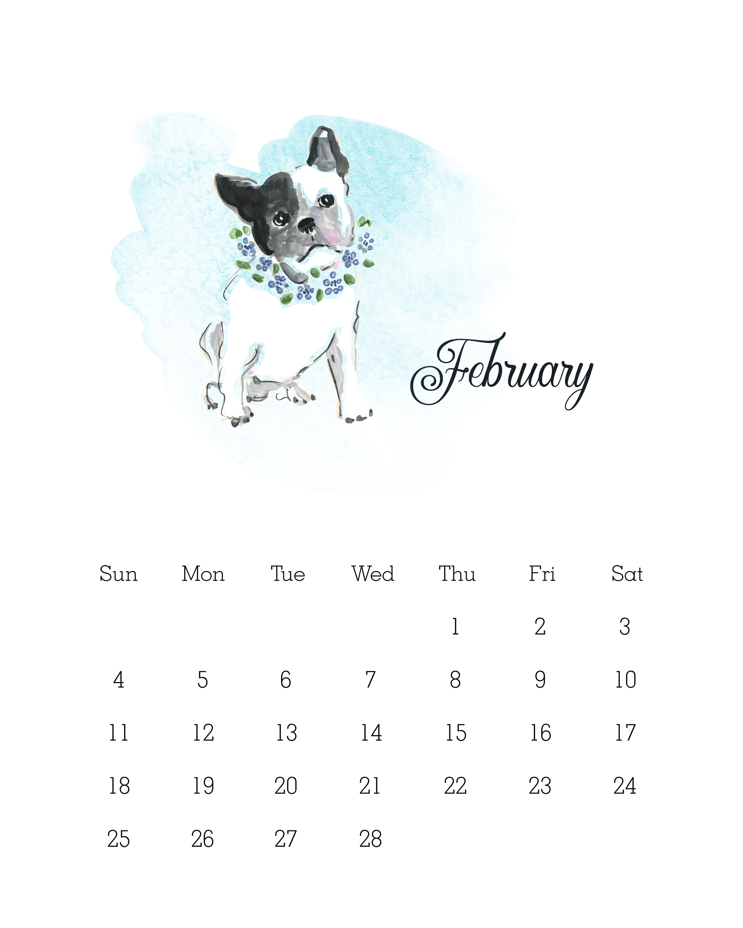 February 2018 - Watercolor Dog Calendar