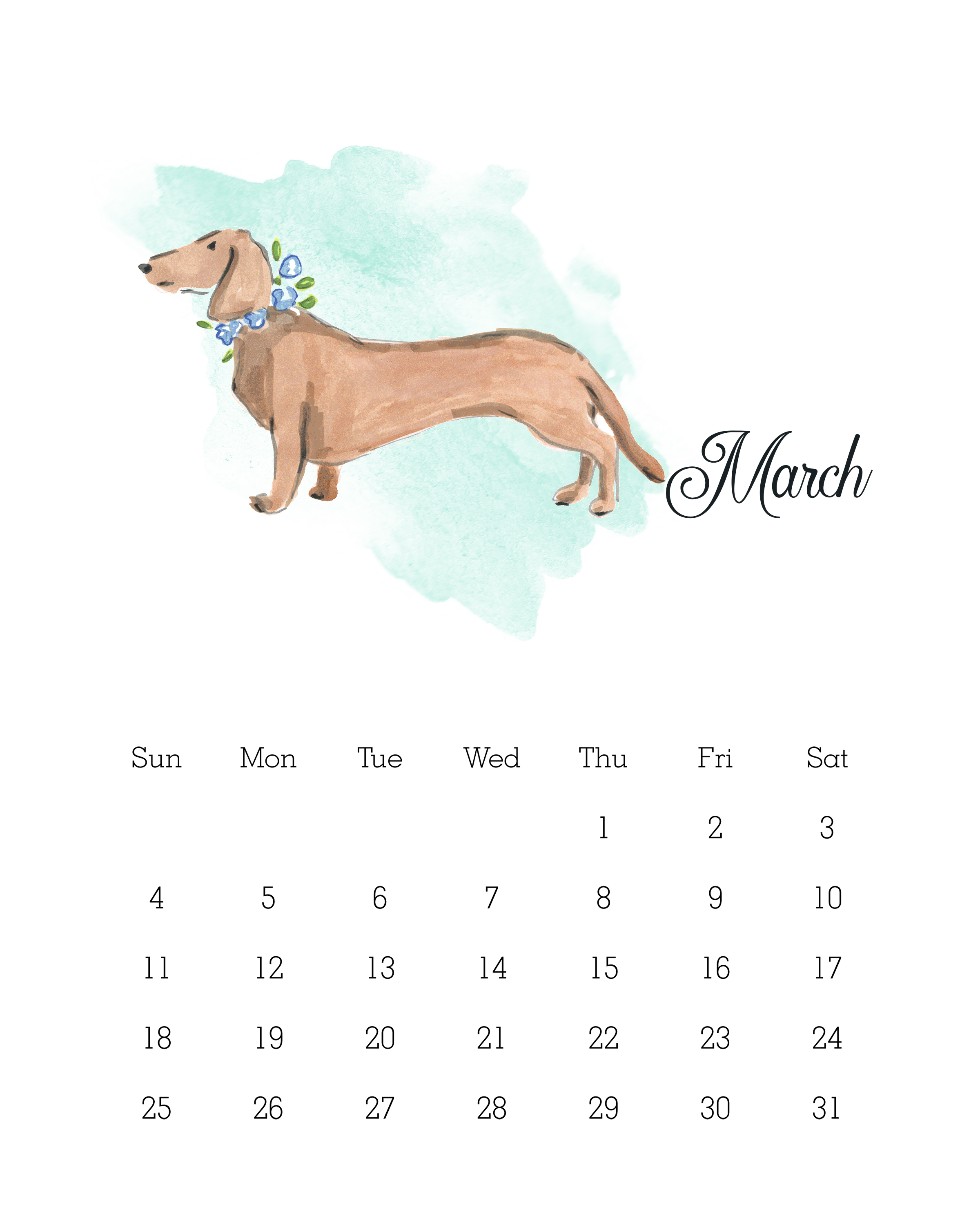 March 2018 - Watercolor Dog Calendar