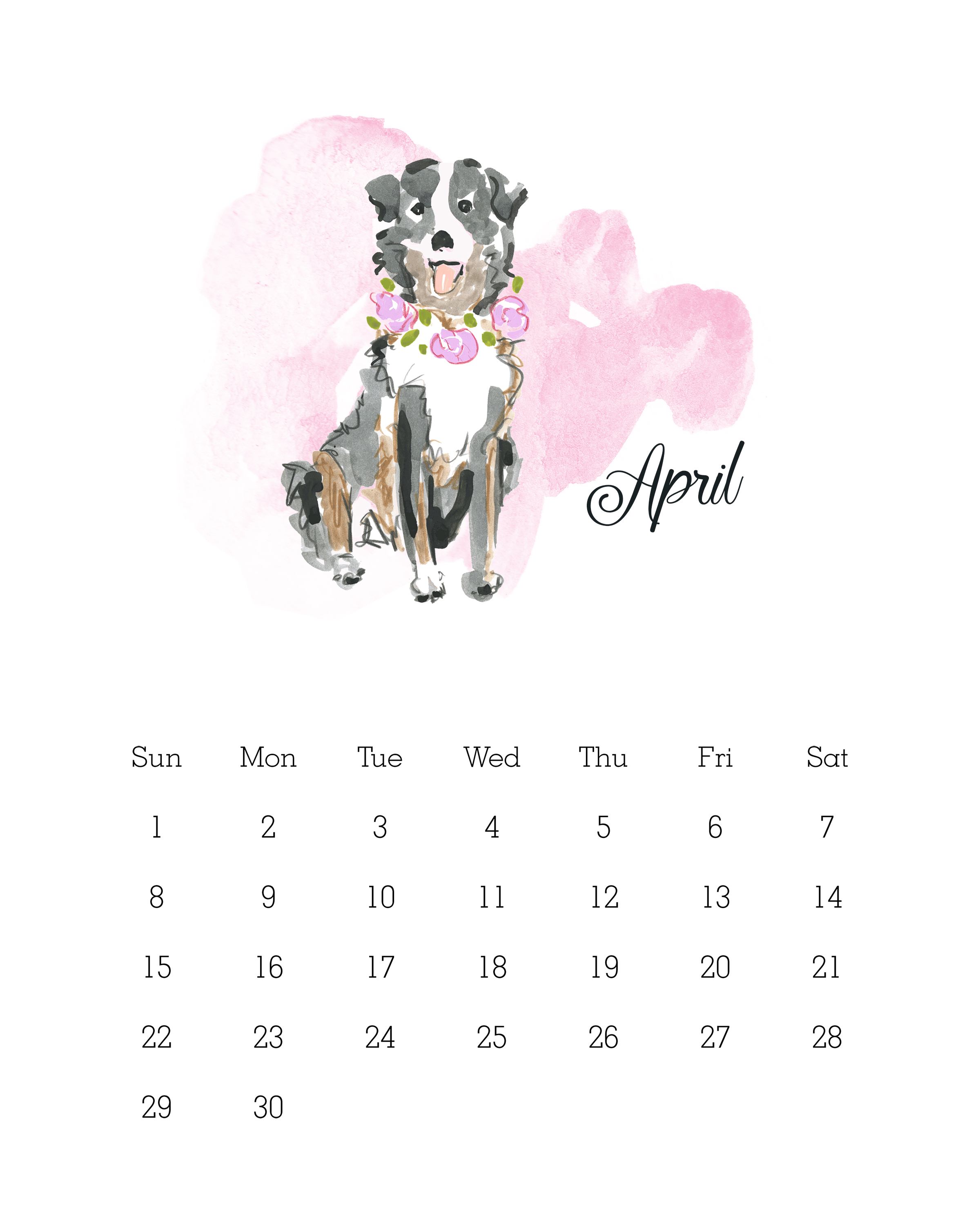April 2018 - Watercolor Dog Calendar