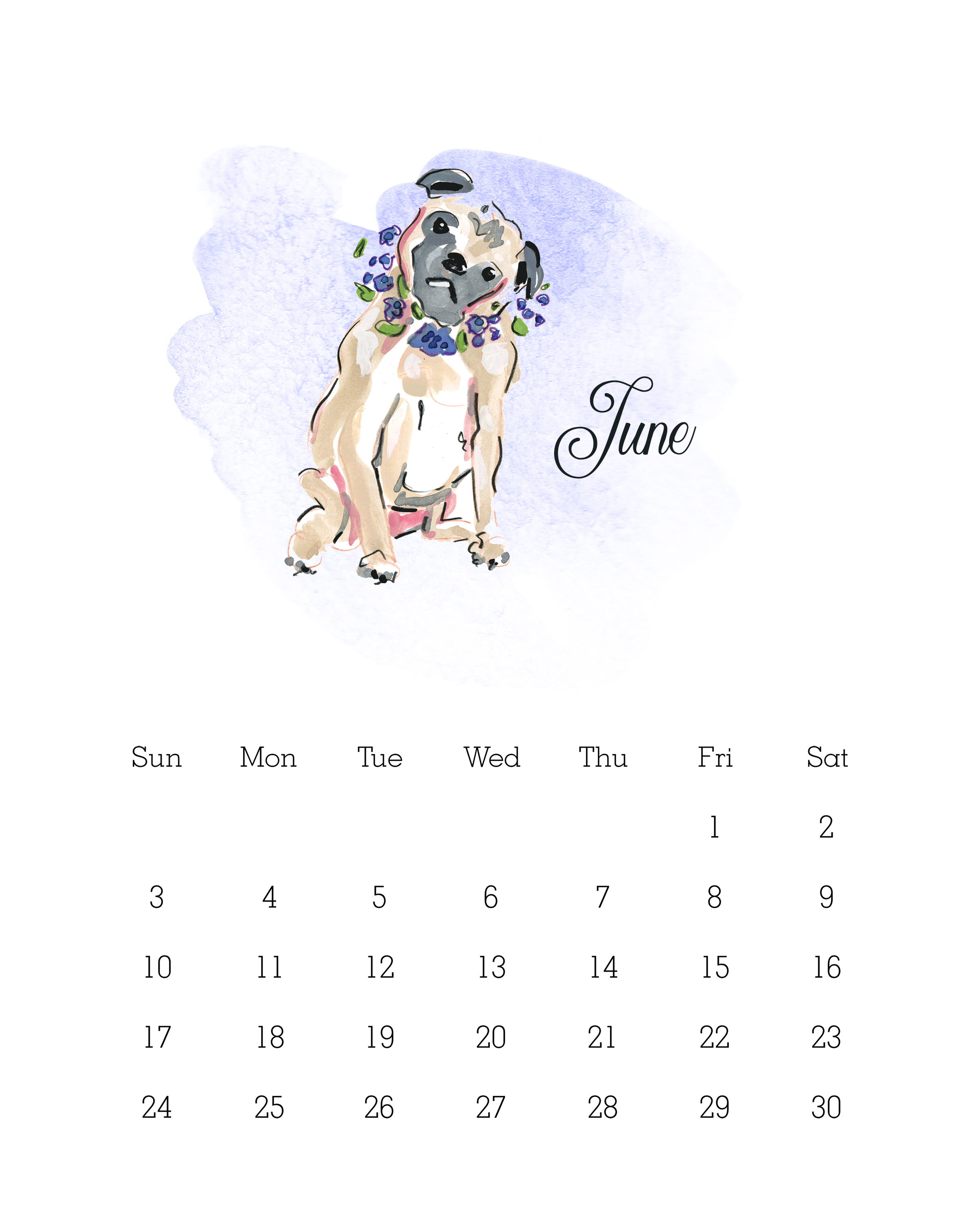 June 2018 - Watercolor Dog Calendar