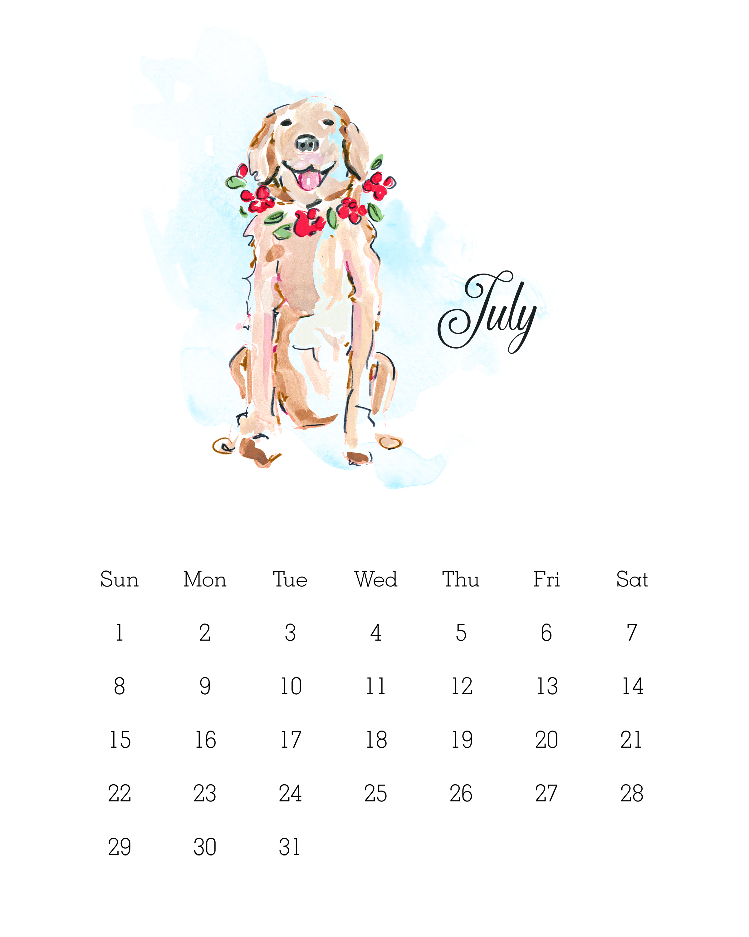 July 2018 - Watercolor Dog Calendar
