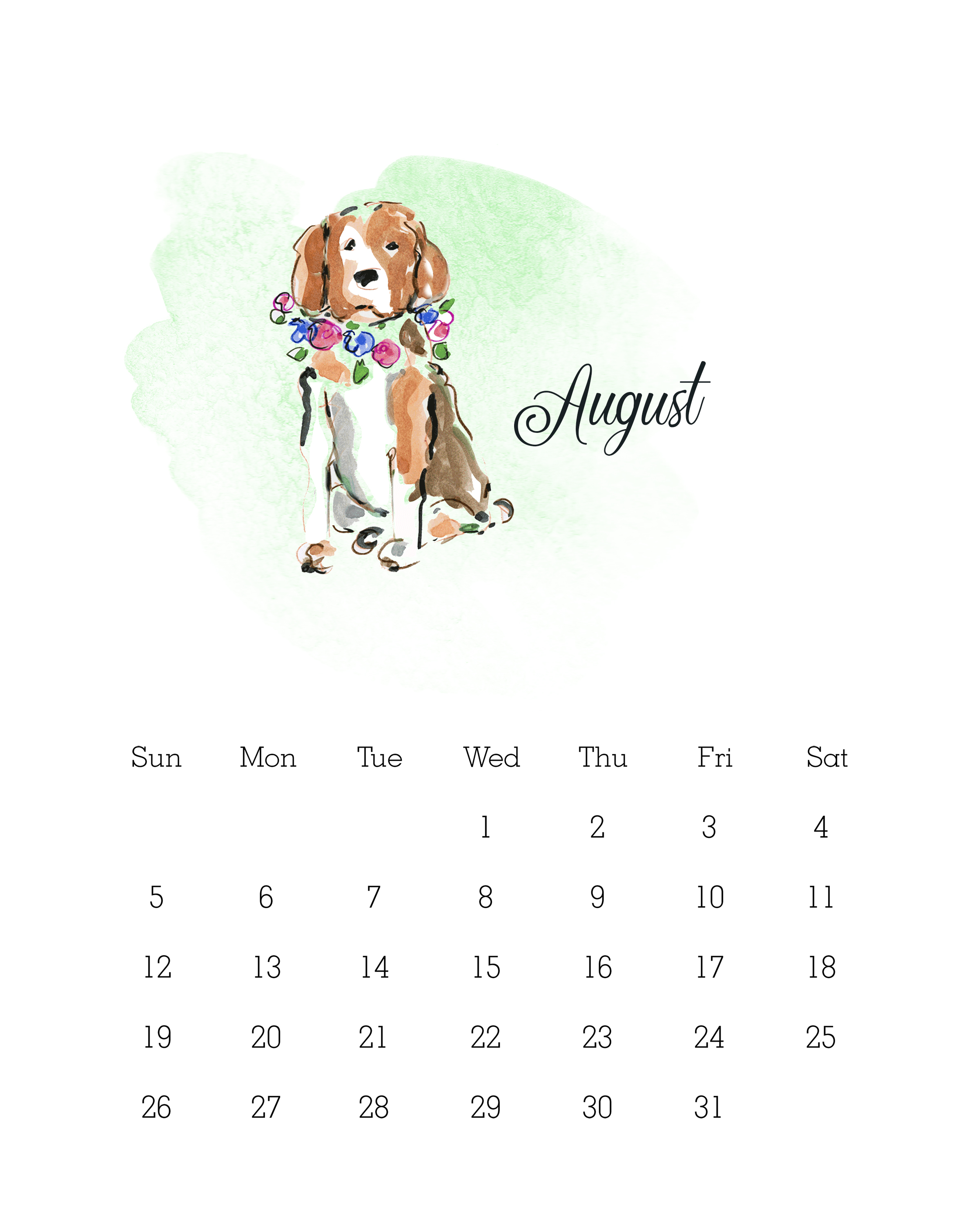 August 2018 - Watercolor Dog Calendar