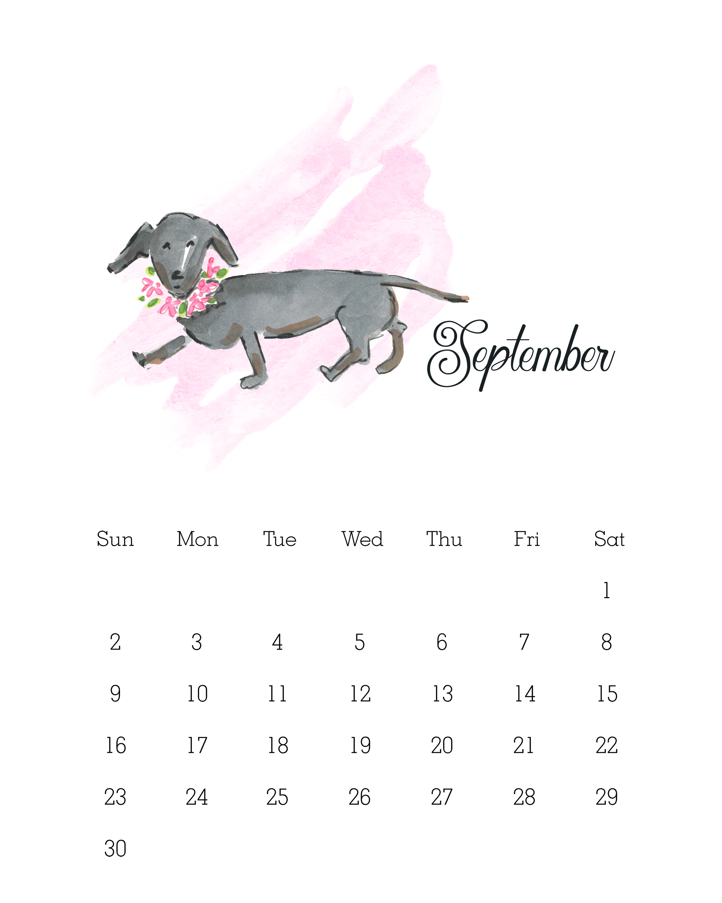 September 2018 - Watercolor Dog Calendar