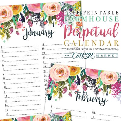 Free Printable Farmhouse Perpetual Calendar