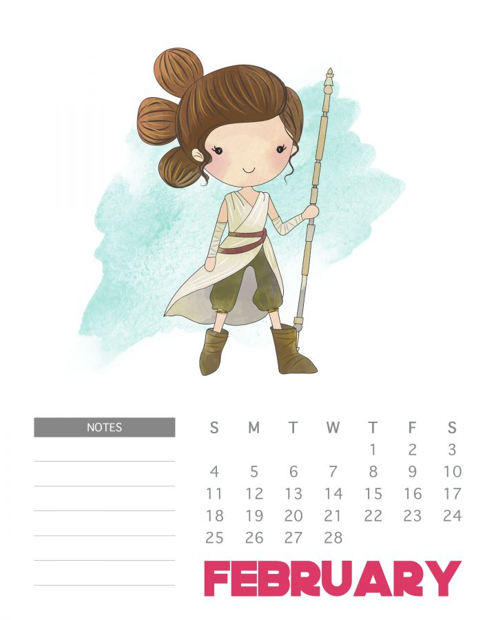 FREE Printable Star Wars Calendar - February 2018