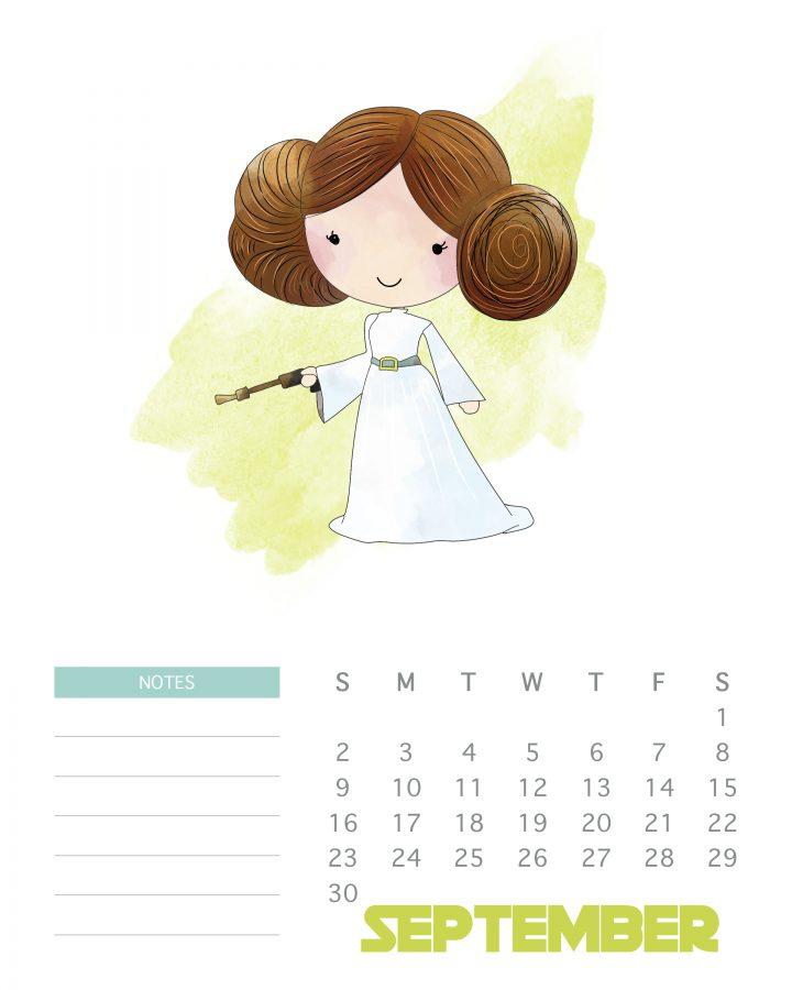 Princess Leia - Printable Star Wars Calendar - September 2018