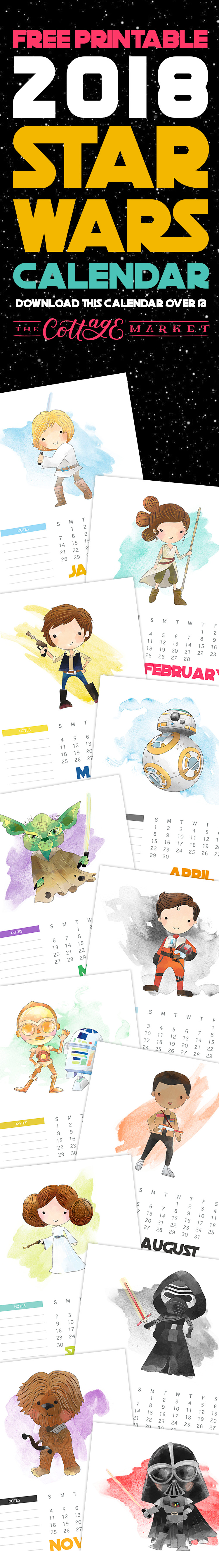 Check out the pages for this free printable 2018 Star Wars calendar