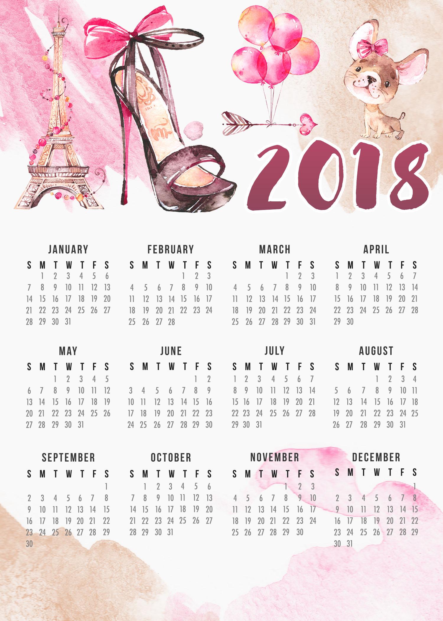 Free Printable Paris Calendar