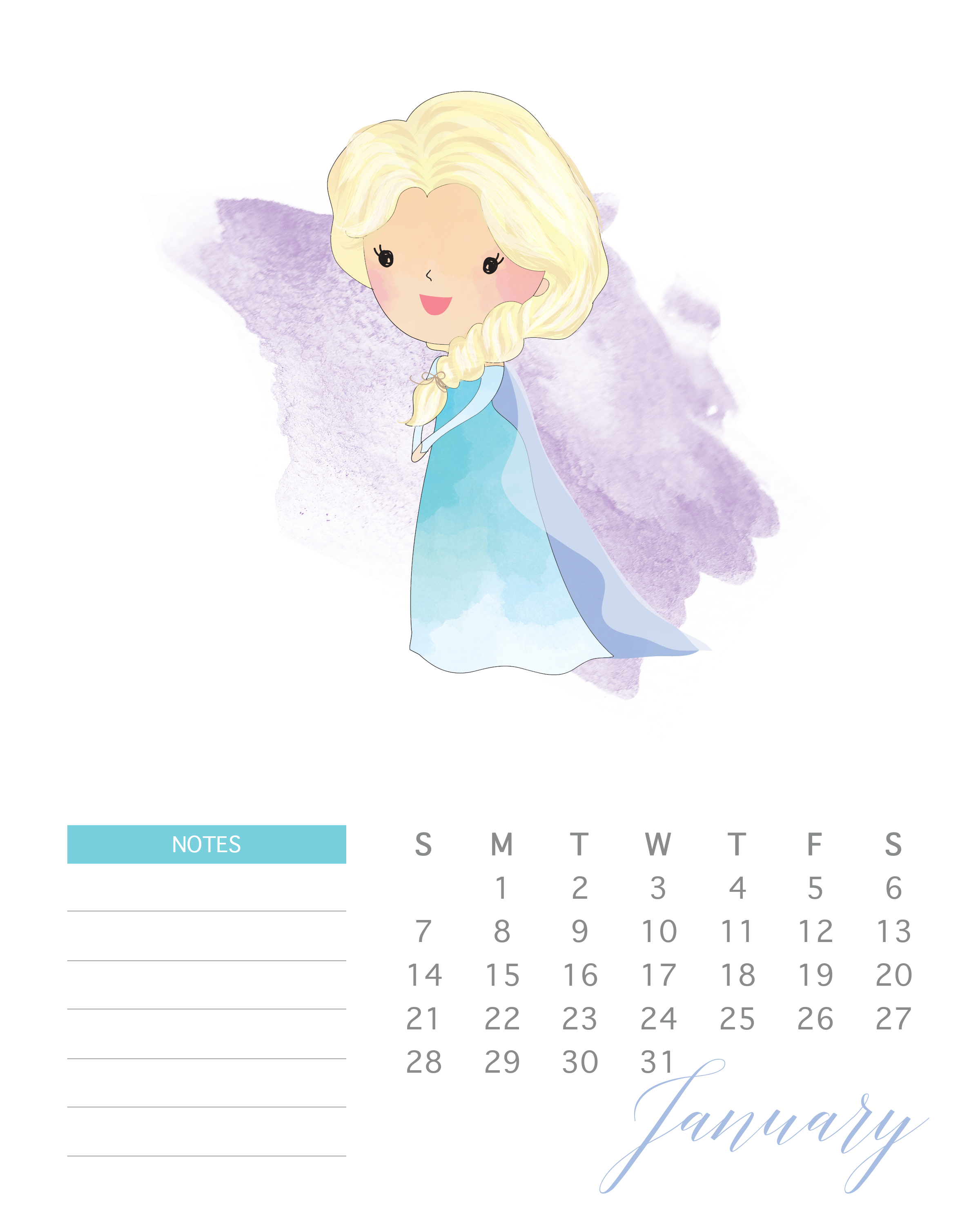 Elsa is the featured princess of this free 2018 watercolor princess calendar