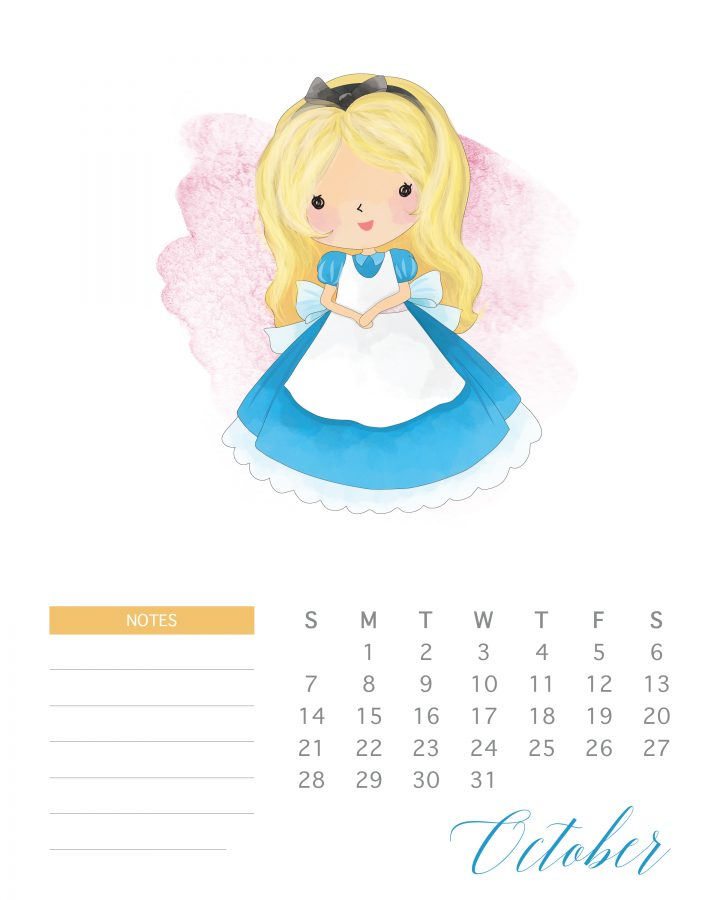 Alice in Wonderland is the featured princess of October in this free printable watercolor princess calendar