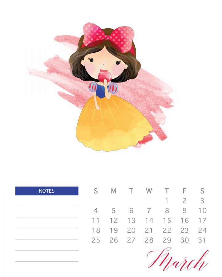 Snow White is the featured princess of March in this free printable 2018 watercolor princess calendar