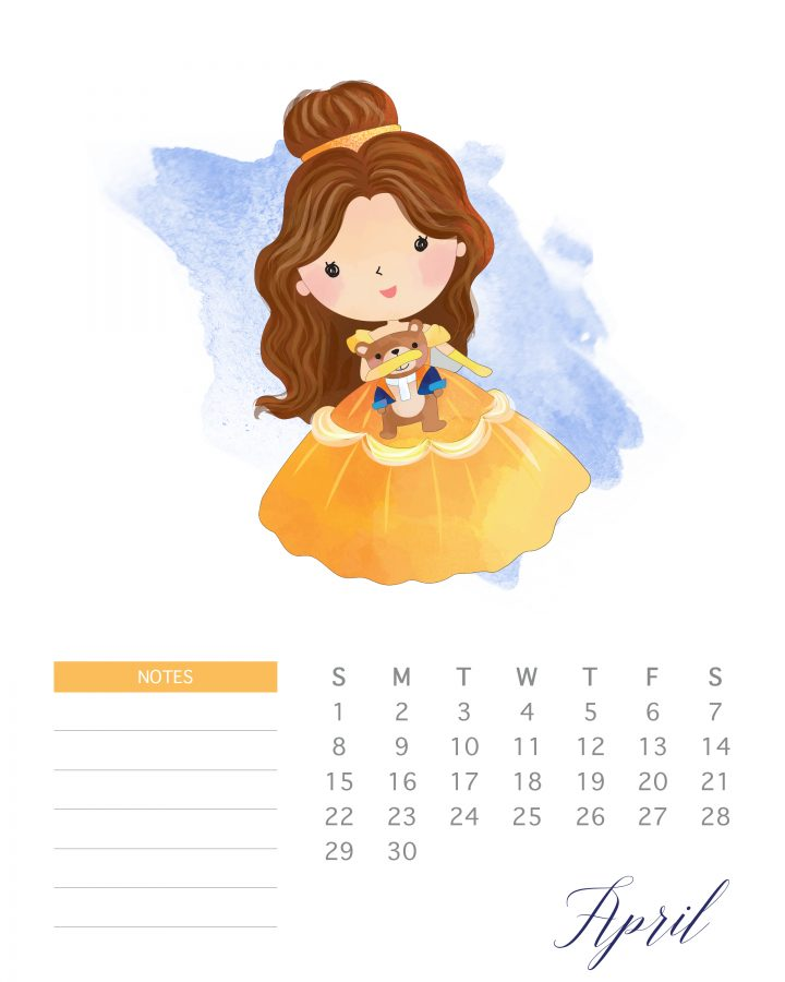 Belle dances on the pages of April in this free 2018 printable watercolor princess calendar