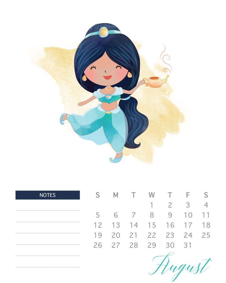 Happy Jasmine is the featured princess of August in this free printable 2018 watercolor princess calendar