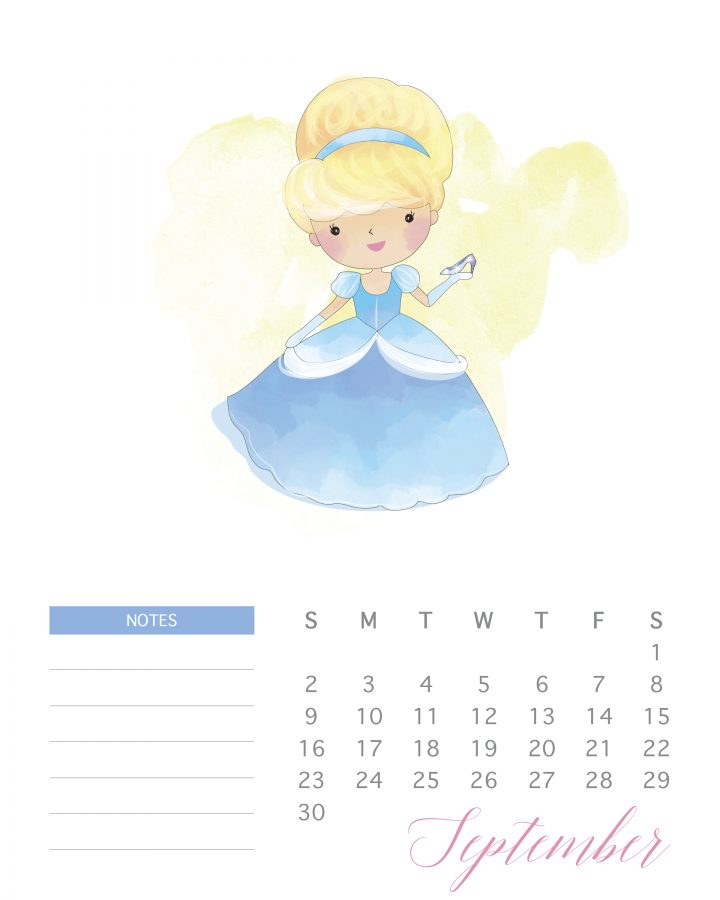 Cinderella and her glass slipper grace the page of September in this free watercolor princess calendar