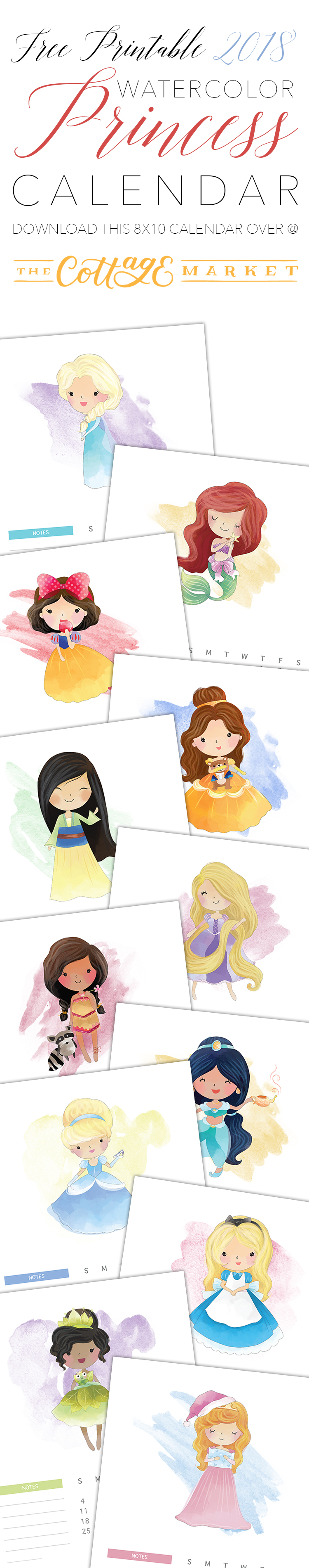 The 2018 Watercolor Princess Calendar features adorable Disney princesses