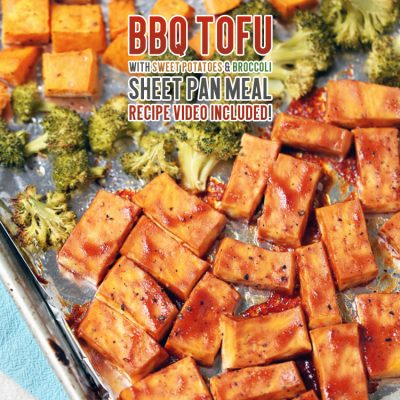 BBQ Tofu with Sweet Potatoes and Broccoli Sheet Pan Meal /// Recipe Video Included