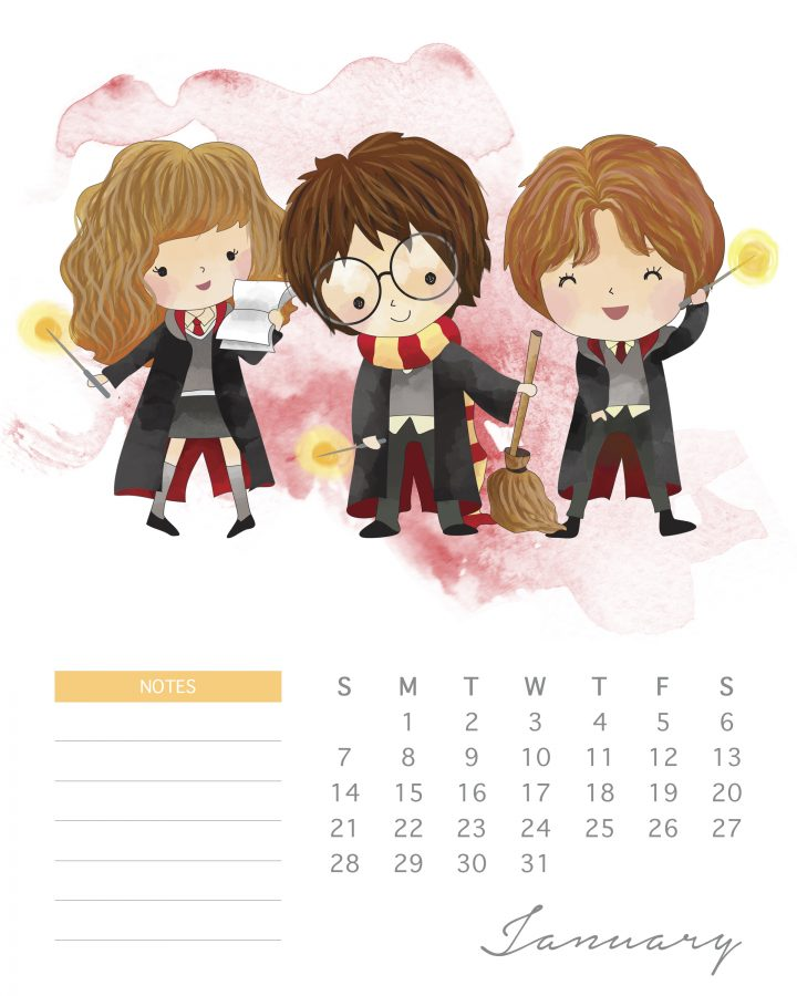 Harry, Ron, and hermione are the super trio on this free printable Harry potter character calendar