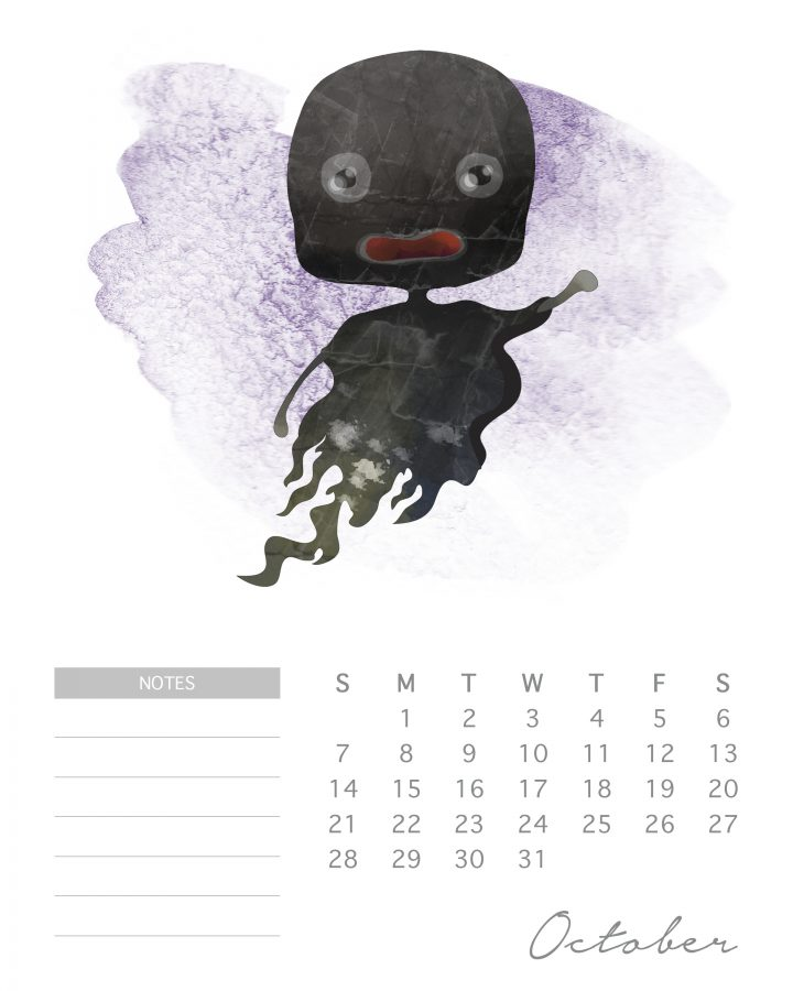 Death eaters aren't always scary, like this cute cartoon in our Harry potter character calendar