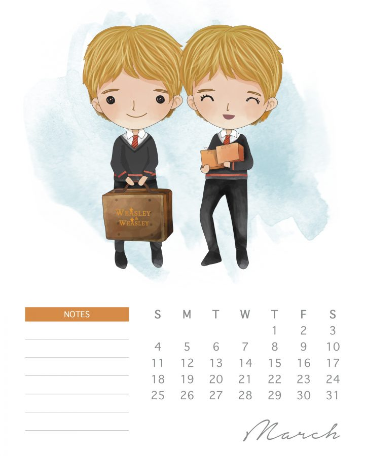 Fred and George have their usual tricks up their sleeves in this free printable Harry potter character calendar