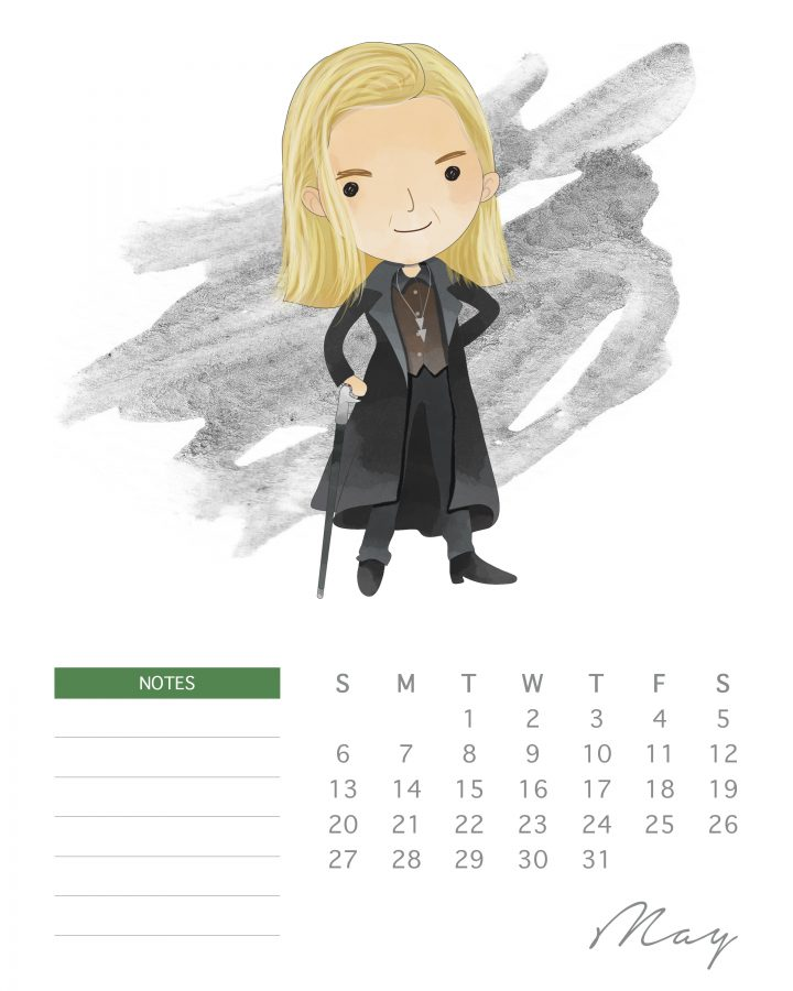 Lucius Malfoy makes an appearance in our free 2018 Harry potter character calendar