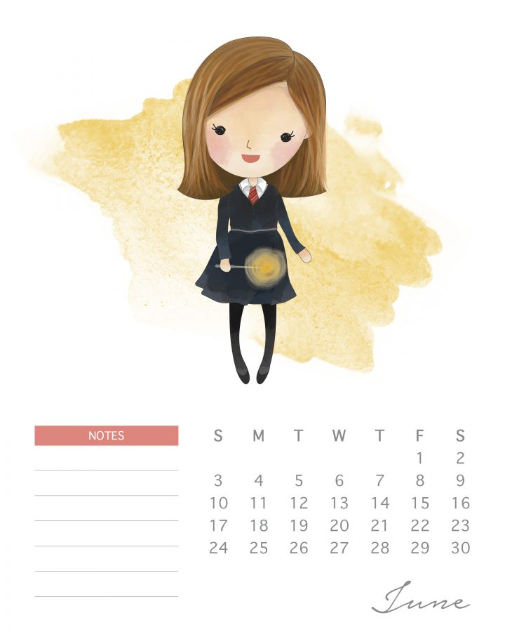 Magic is afoot in this free printable Harry potter character calendar