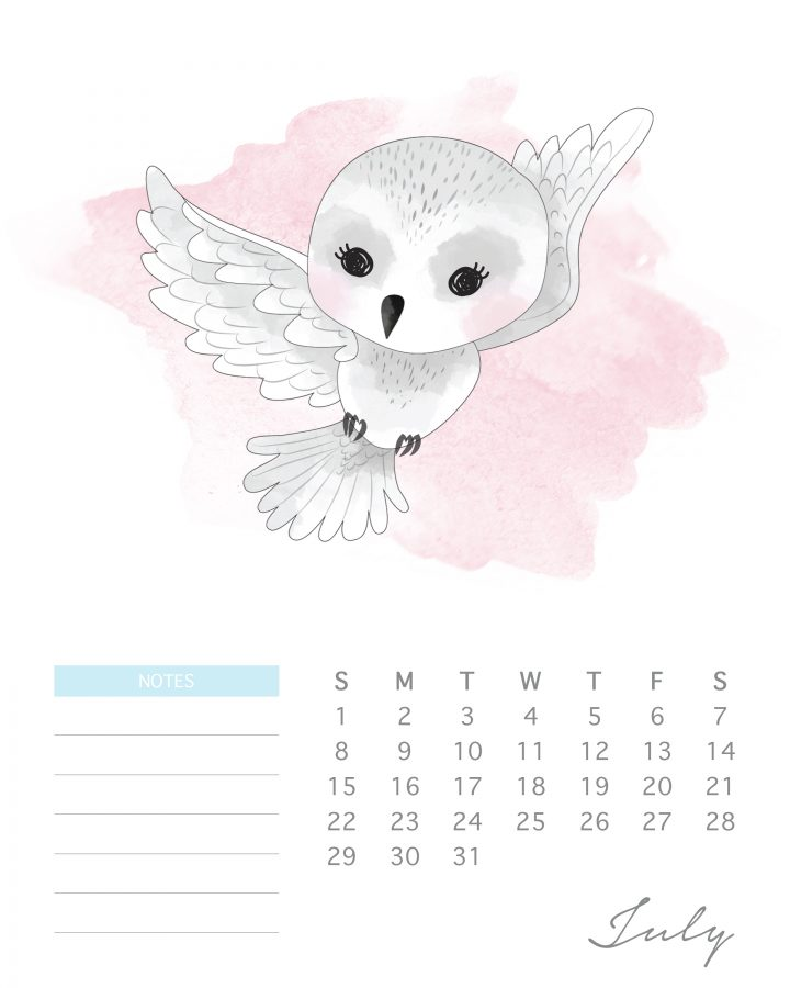 Hedwig has some love to deliver in this free Harry potter character calendar