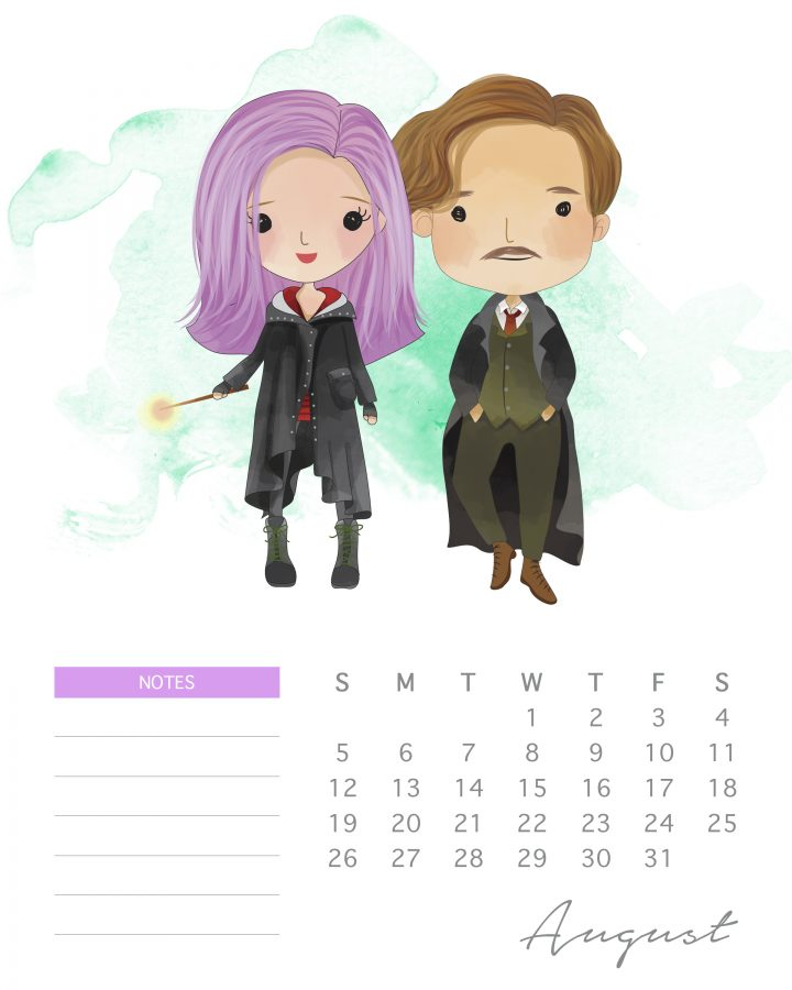 Lupin and his love whip up some magic in our free Harry potter character calendar