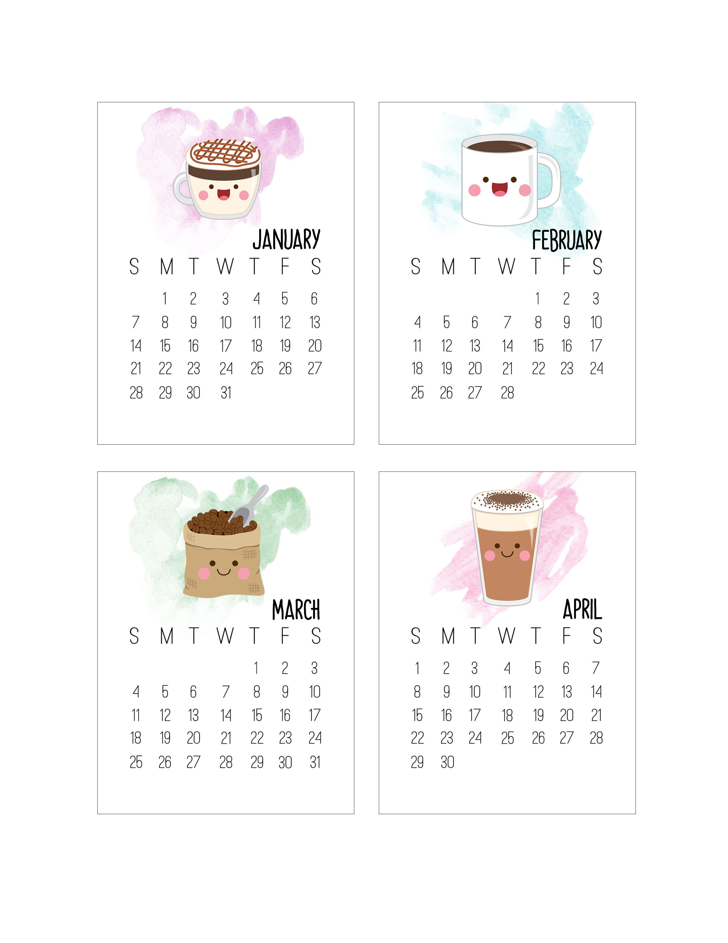 Free Printable Kawaii Coffee Journal Card Calendar