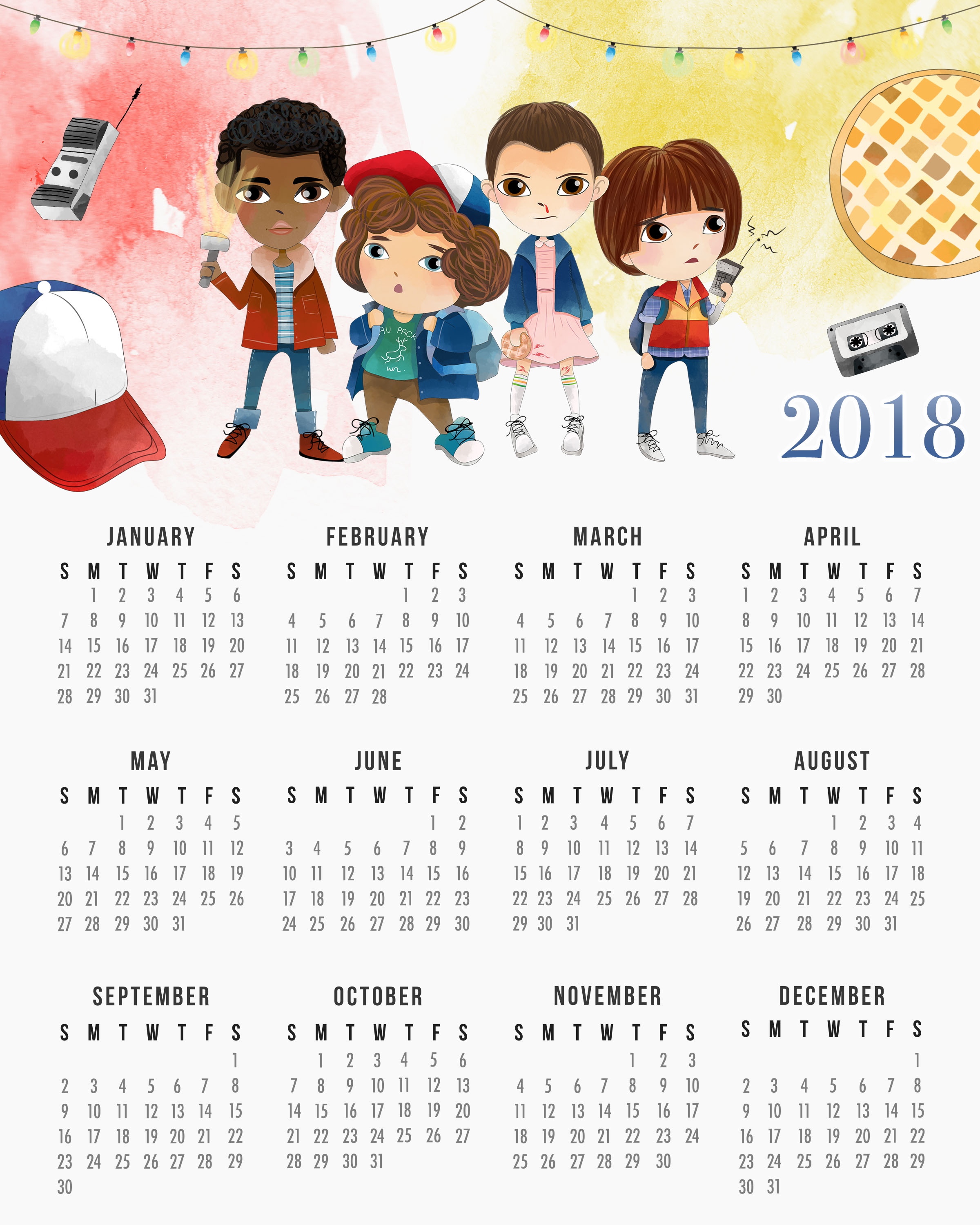 This free Stranger Things 2018 calendar will look great hanging up in your kid's room!