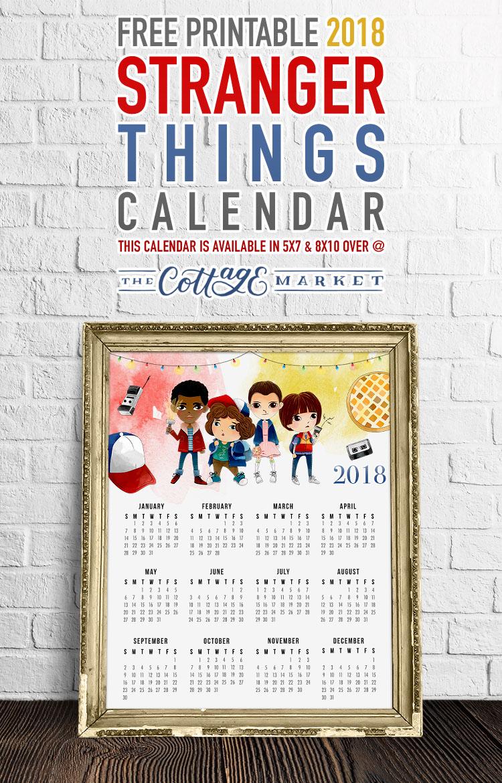 Free Printable One-Page 2018 Stranger Things Calendar