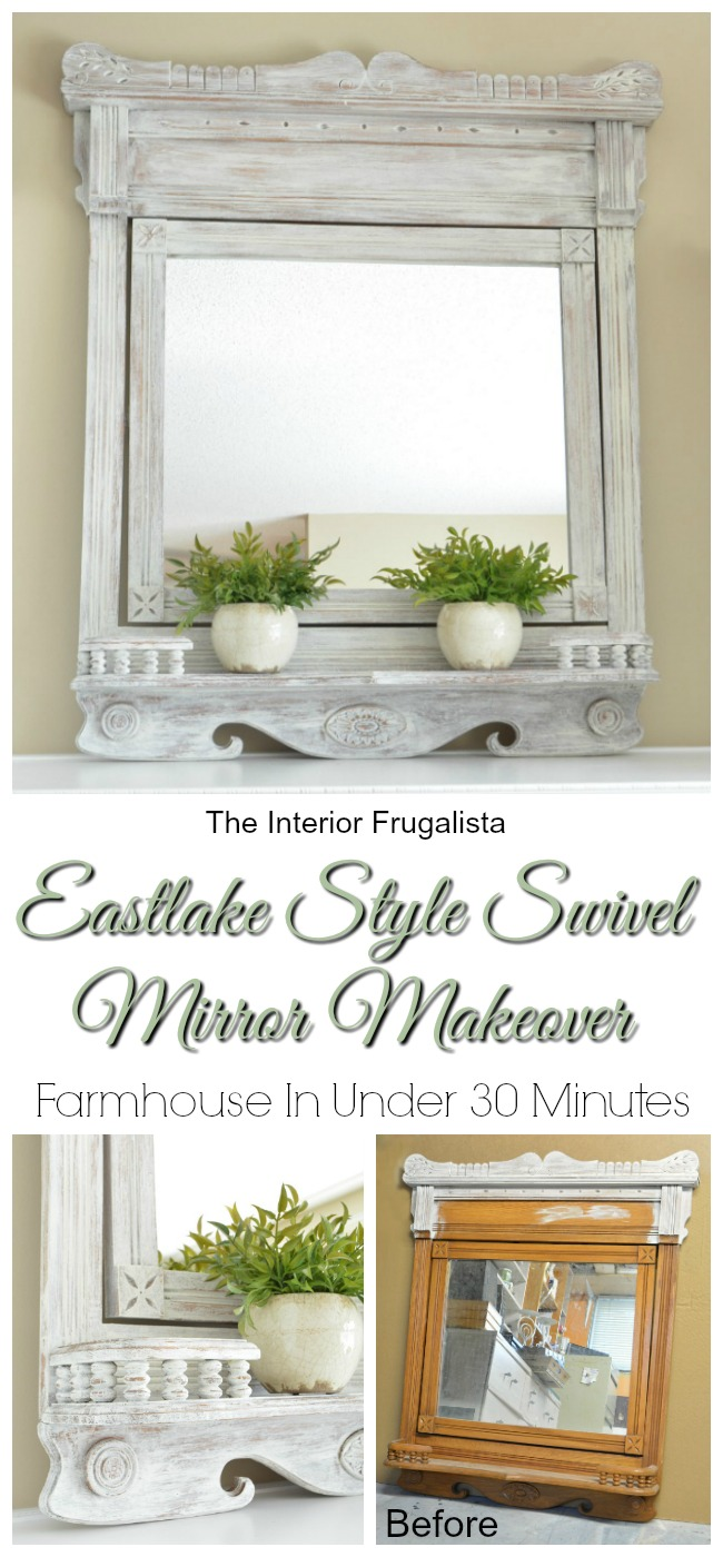 This thrift store mirror painted white looks vintage and farmhouse chic.