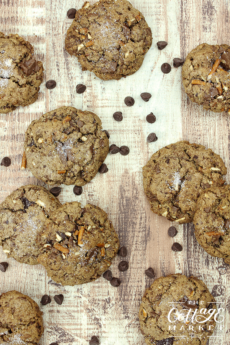 smashed pretzel pieces and sweet chocolate gives these cookies a sweet and salty taste