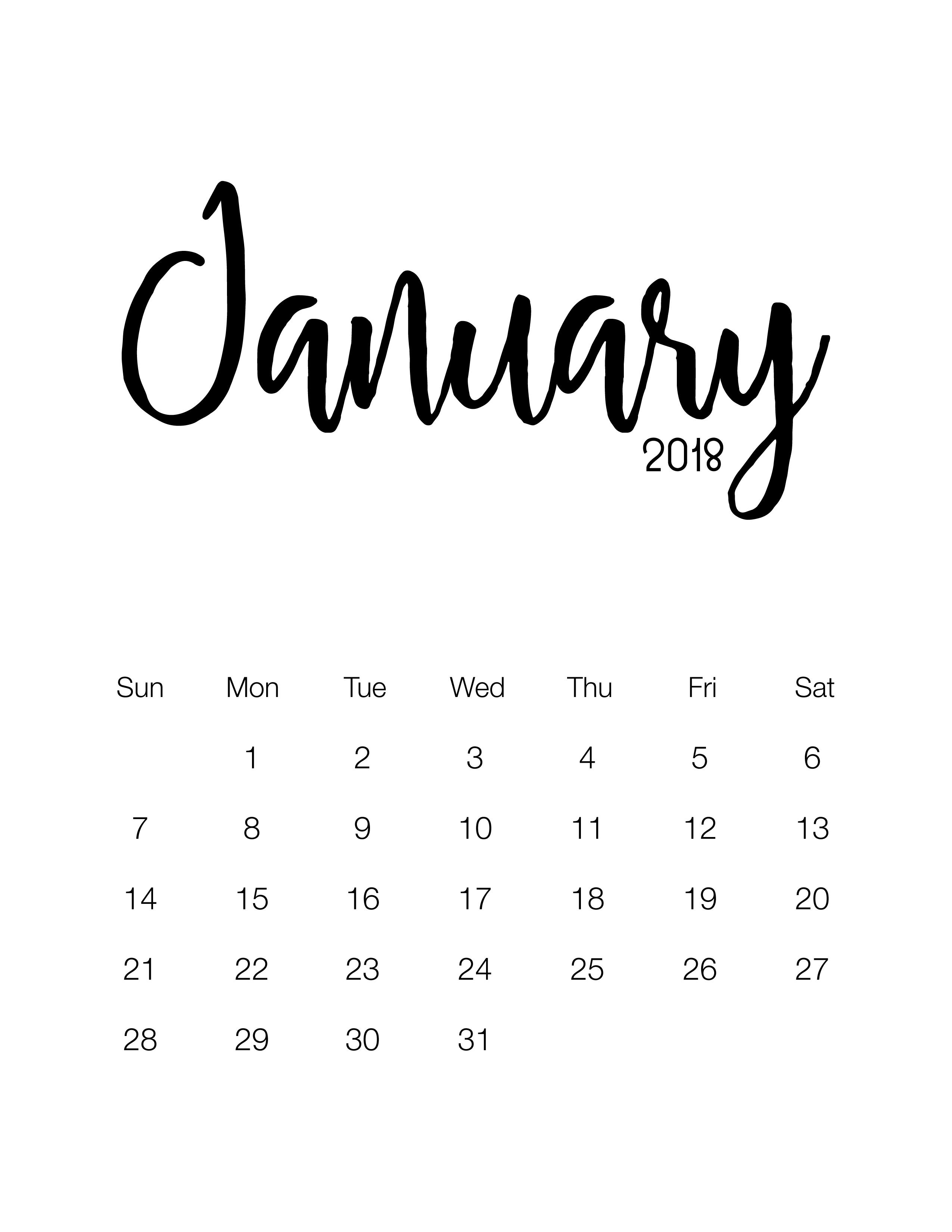 january 2018 - Minimalistic Design Calendar