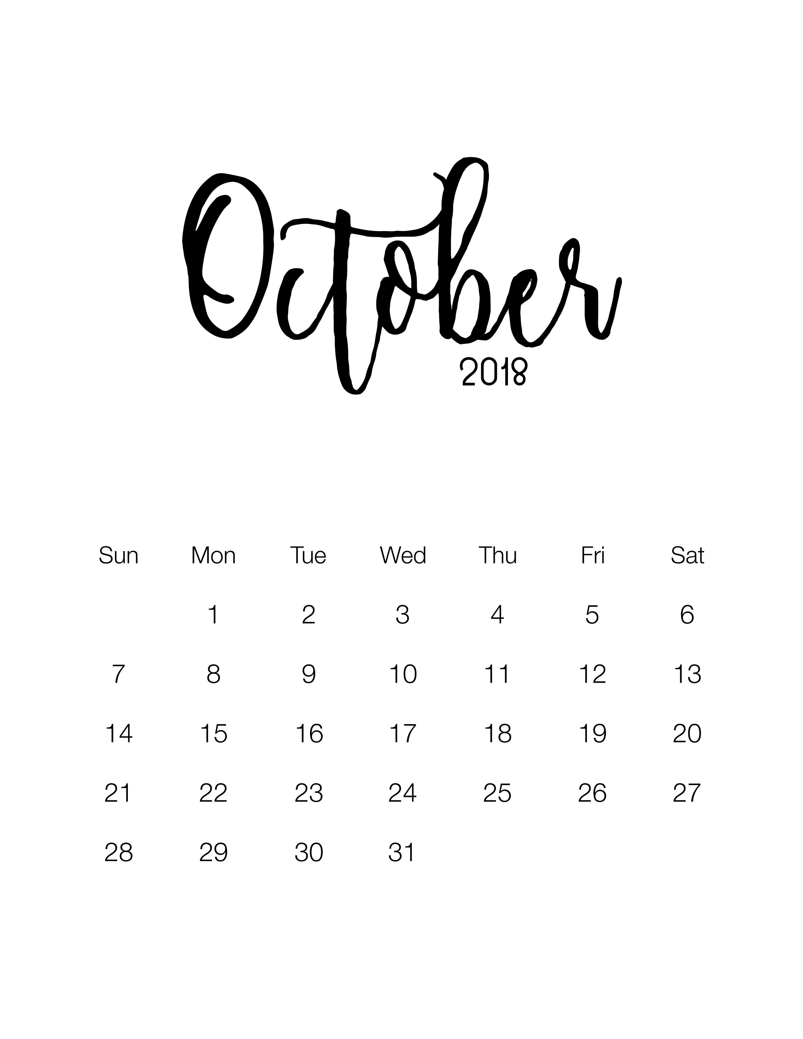 Free Printable Minimalistic Design Calendar