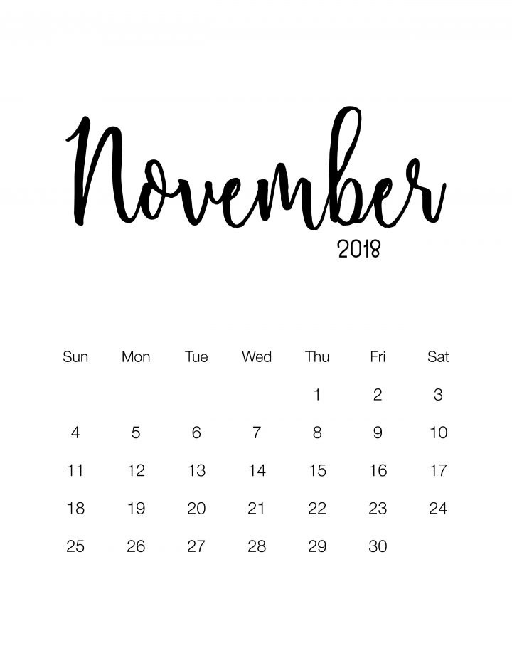 Free 2018 Printable Minimalistic Design Calendar
