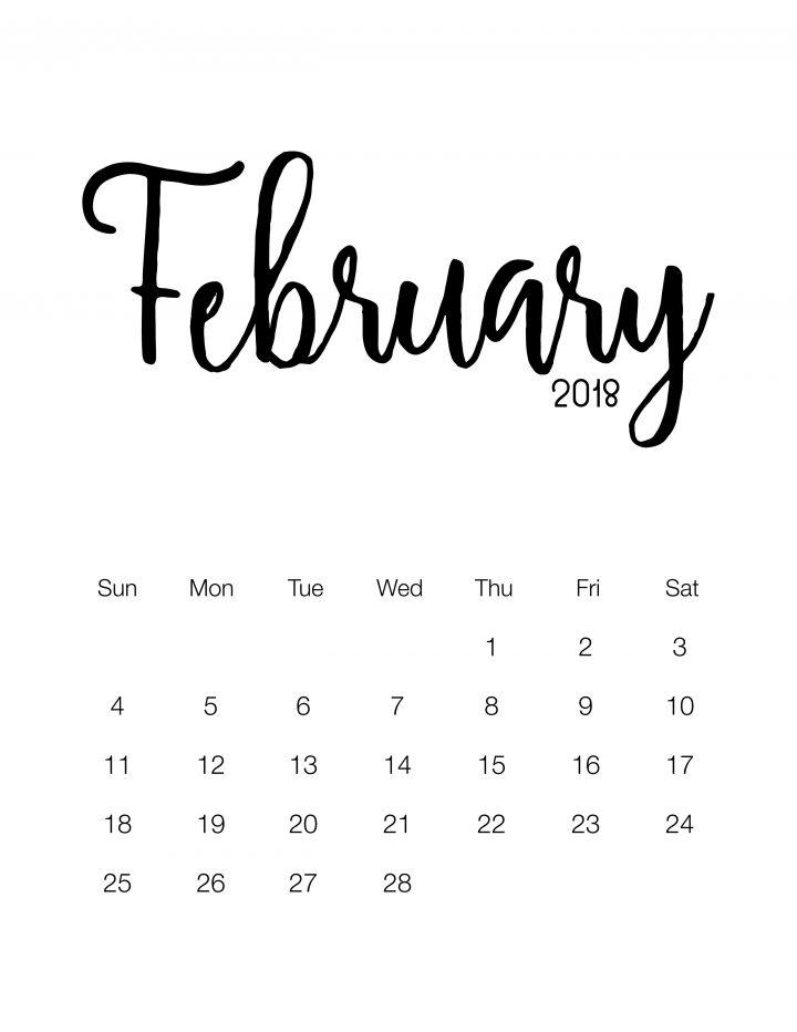 February 2018 - Minimalistic Design Calendar