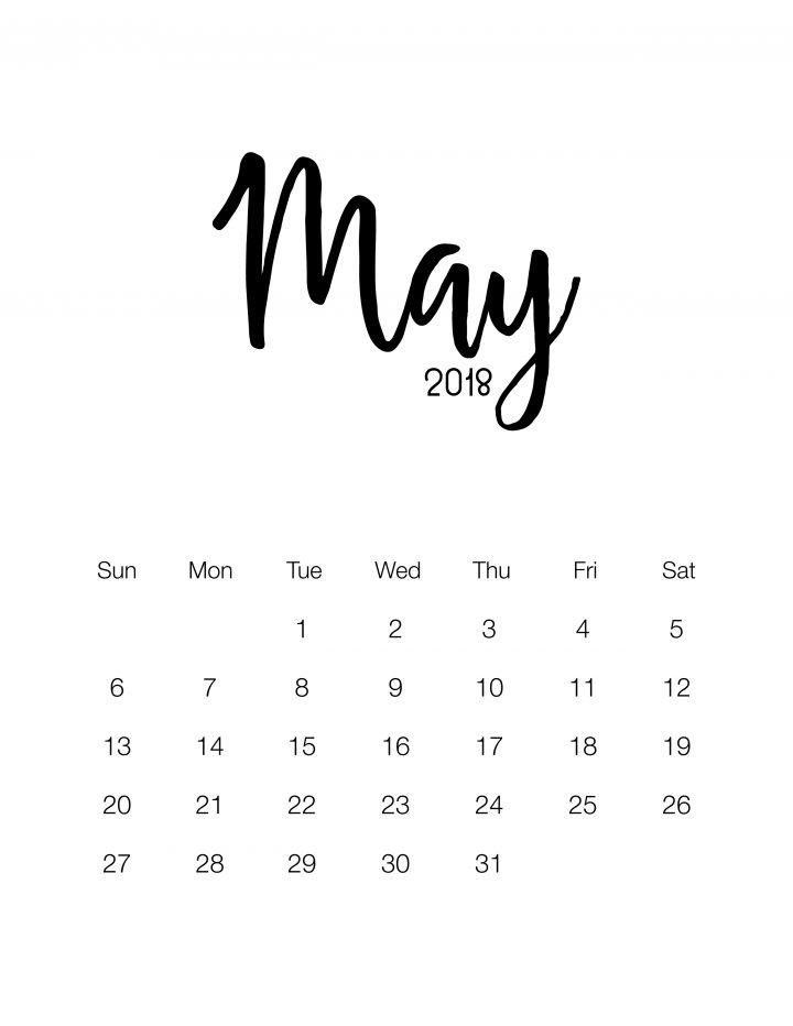 Free printable Minimalistic Design Calendar - May 2018