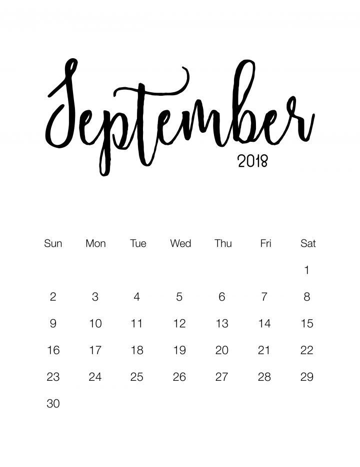 Free Printable Minimalistic Design Calendar - September 2018