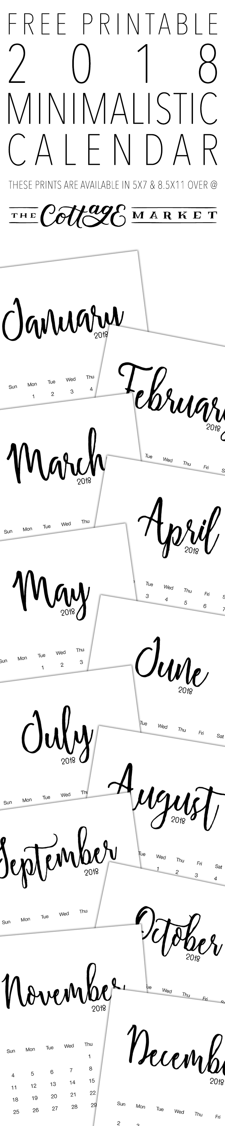FREE Printable Minimalistic Design Calendar for 2018 from The Cottage Market