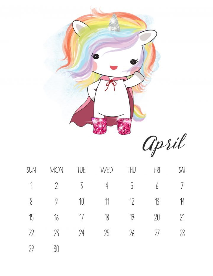 This adorable rainbow unicorn is the face of April on this free printable calendar