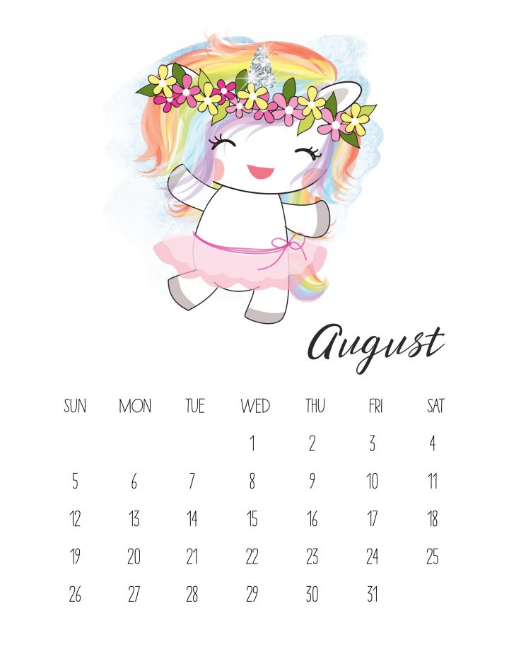 Flower queen Unicorn is ready to celebrate summer on the August page of our free printable unicorn calendar