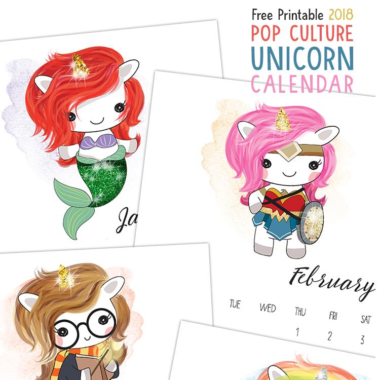 Free Printable 2018 Calendar - Pop Culture Unicorn Characters
